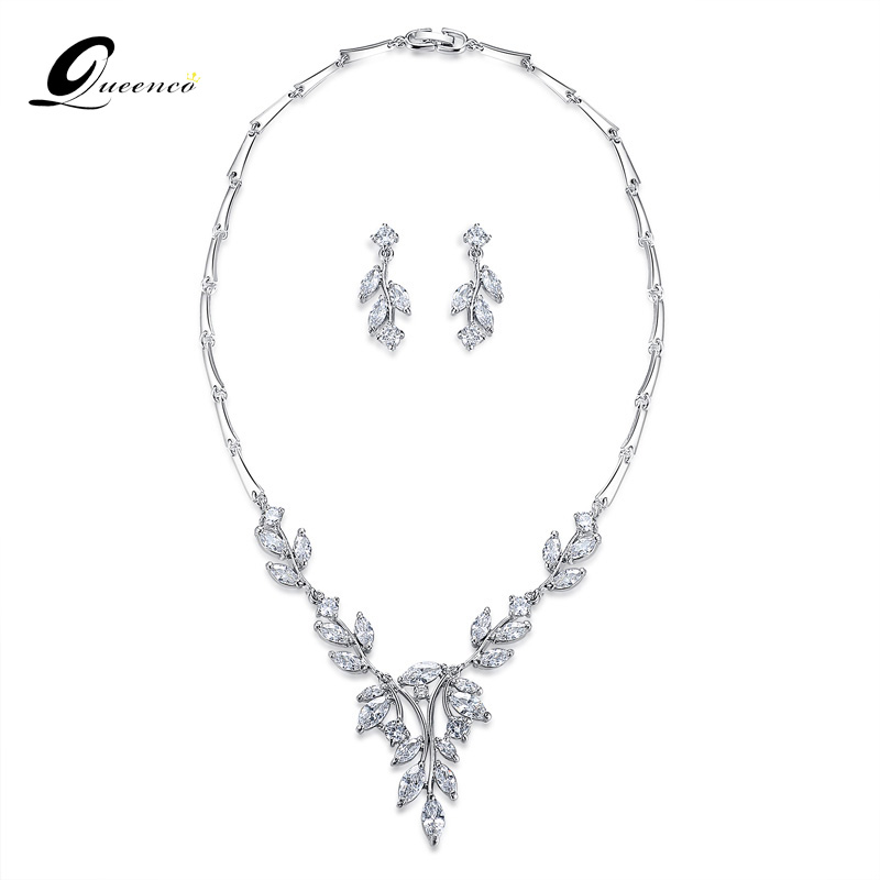 Noble Cubic Zirconia Bridal Jewelry Sets Vivid Leaf-Shape Necklace Sets Silver Color Wedding Jewelry for Women