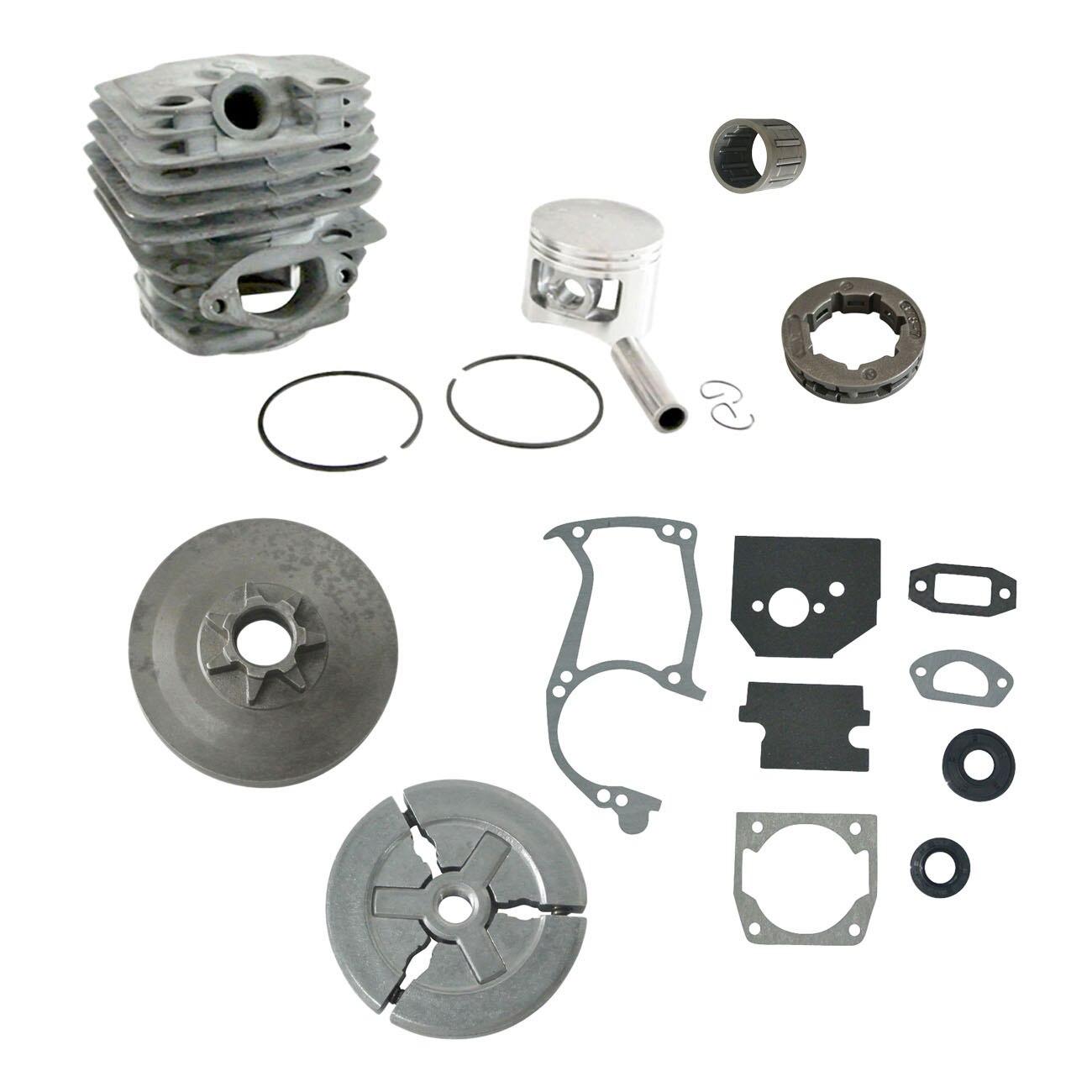45MM Cylinder Piston Kit W/Full Gasket 3/8 7T Sprocket Rim Fit BBT 5200 Chainsaw rim sprocket