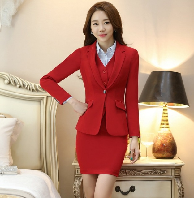 ffd7b83b7a0 Novelty Red Slim Fashion Formal Uniform Design Business Suits 3 pieces With  Jackets + Skirt +