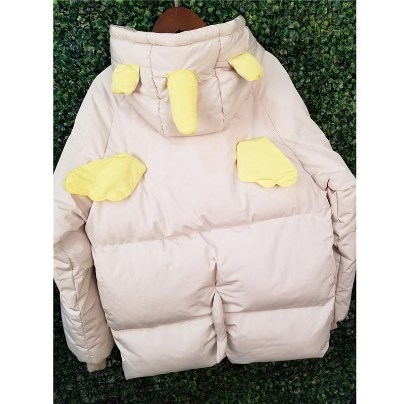 Déplaçant Kawaii Se Licorne Manteaux Filles Capuche Femme blanc Épais 2018 Veste Or D'hiver En Oreilles Coton Avec Femmes À DH9EI2WY