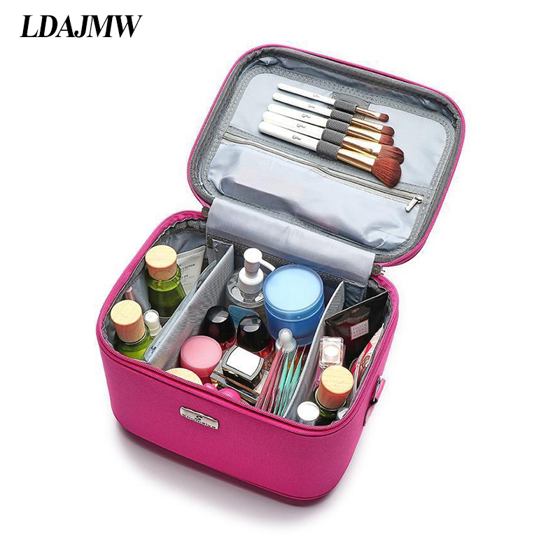 LDAJMW Professional Cosmetic Bag Large Capacity Korea Travel Portable Large Storage Bag Cute Waterproof With Lock Cosmetic Case