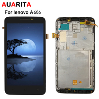 AAA quality 1pcs LCD For Lenovo A606 A 606 LCD Display Touch Panel Screen Glass with frame Assembly Replacement Parts with tools