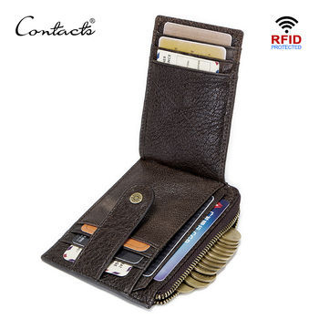 CONTACT'S genuine leather credit card holder Rfid vintage male coin pocket purse mini wallet porte carte business card holders