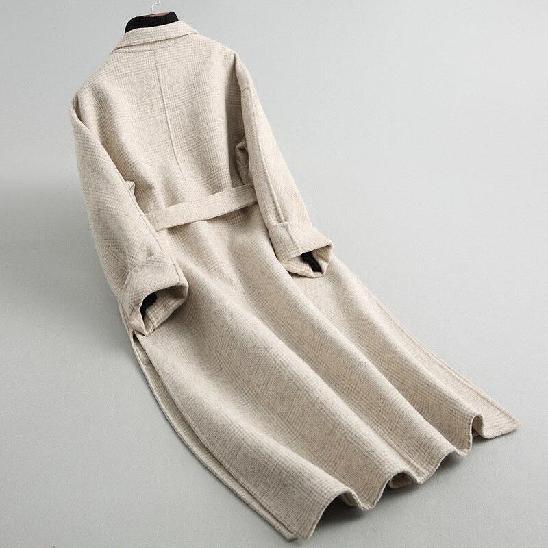 Cappotto di lana del rivestimento delle donne jaqueta di spessore plaid di lana del cappotto delle donne di doppio fronte di lana cappotto lungo delle donne sezione disegno di Grande formato