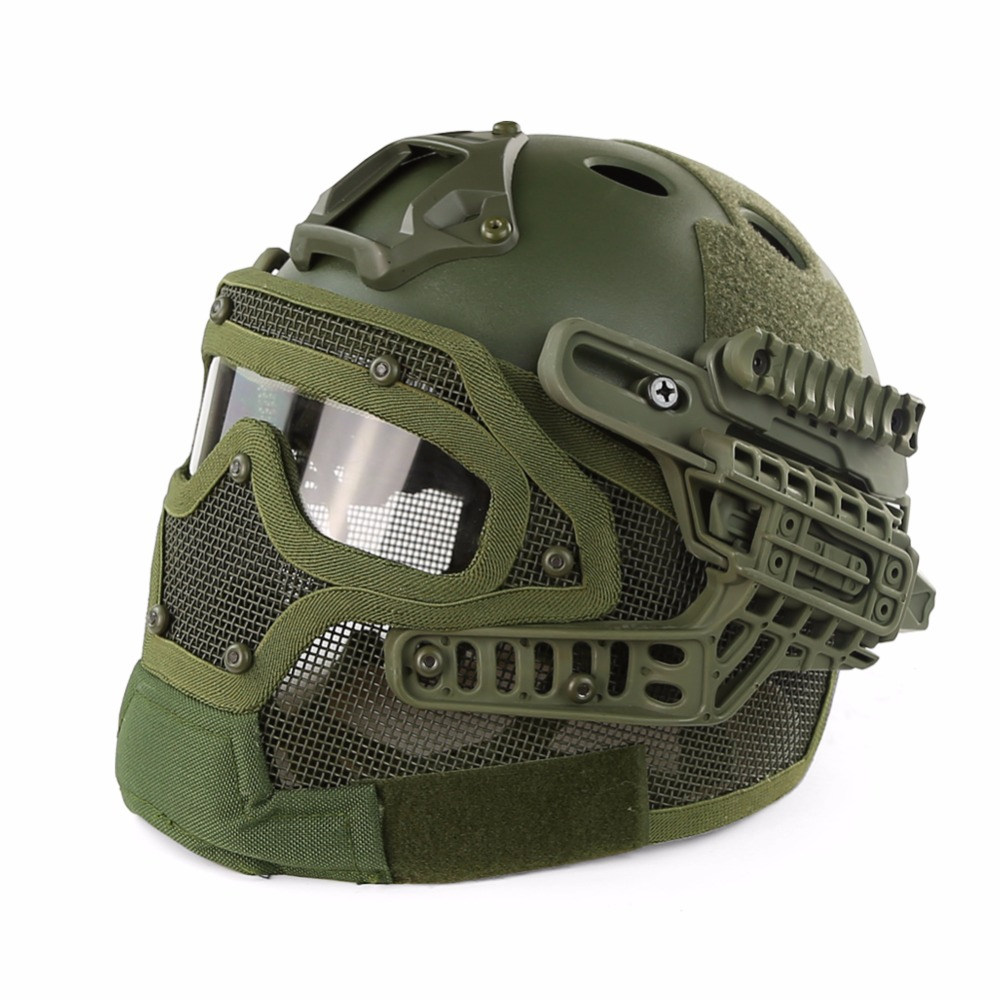 Outdoor Tactical Helmet PJ G4 System Full face With Protective Goggle and Mesh Face Mask Airsoft