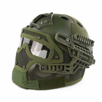 Outdoor Tactical Helmet PJ G4 System Full face With Protective Goggle and Mesh Face Mask Airsoft Helmets for Military CS Game