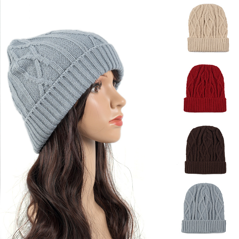 Solid Color Fashion Thick Knitted Hat Women Female Artificial Winter Hats Caps Girl Hemming Knit Beanies for Ladies