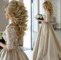 В 2017 году, последние шампанское абсолют платья шеи половина рукава аппликация кружева долго атласа свадебное платье