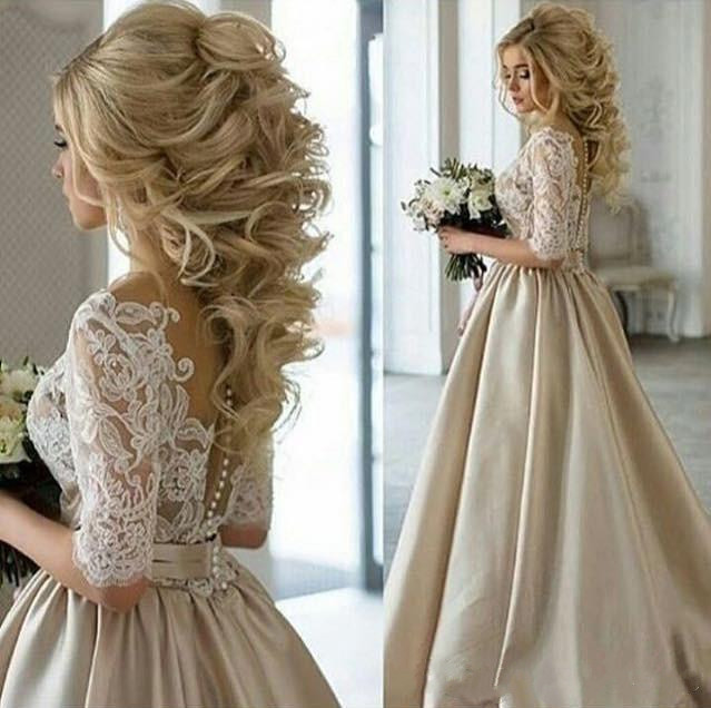 In 2017, the latest champagne dress absolute neck half sleeve applique lace long satin wedding dress