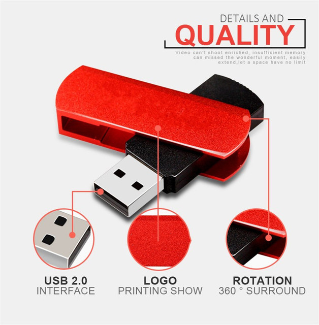 De metal de colores 4/8/16/32/64 GB usb flash drive de Rotación USB 2.0 usb stick equipo tarjeta de memoria flash del palillo de pen drive pc