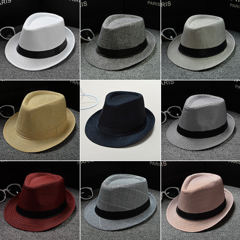 New Classic Mens Women Straw Fedora Hat Caps sun hats Wide Brim Panama Hat Summer Dress Hat Accessories
