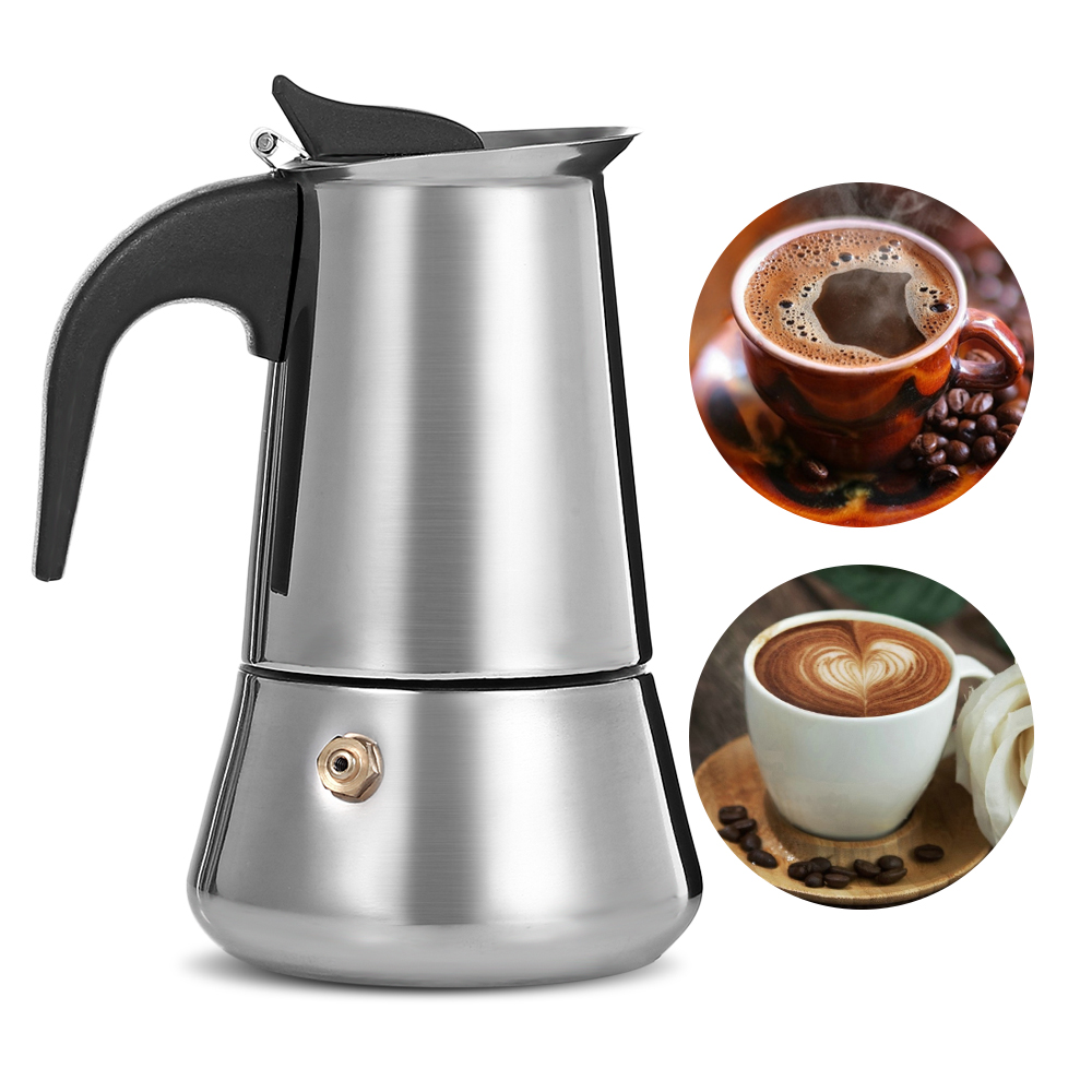 все цены на Stainless Steel Moka Coffee Maker Latte Espresso Mocha Maker Pot Stovetop Filter Coffee 100ML 200ML 300ML 400ML Coffee Machine
