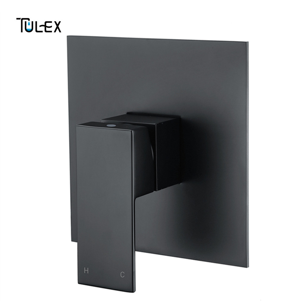 TULEX Black Concealed Shower Mixer Wall Mounted Valve Hot Cold Water Shower Diverter Shower Faucet Brass