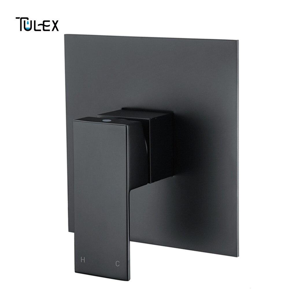 TULEX 黒隠さシャワーミキサー壁バルブホット & コールド水シャワーダイバータシャワー蛇口真鍮シャワーヘッドコネクタ  グループ上の 家のリフォーム からの シャワー 蛇口 の中 1