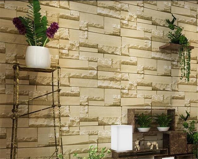 Beibehang 3d luxe stenen muur 3d behang woonkamer home decoratie ...
