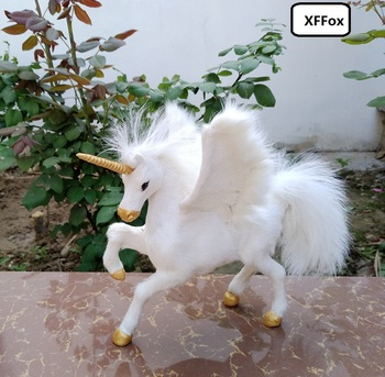new real life white wings horse model plastic&furs simulation unicorn doll gift about 23x14x20cm xf1859