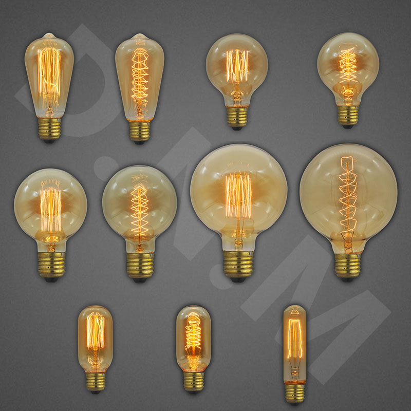 Retro Edison Light Bulb E27 40W 220V Incandescent Filament Lights St64 G125 G95 T10 Vintage Bulb Ampoule Edison Lamp Home Decor