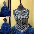 2016 Imagens Reais vestido de Baile de Cristal Frisado Vestidos Da Menina de Flor Para O Partido Ruffles Organza Meninas Vestidos Pageant QM248