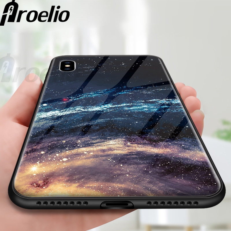Proelio Star Space Tempered Glass Case For Iphone X 8 7 Plus 6 6S Soft Edge Skin Cover Shockproof Glass Slim Capa for iPhone6S