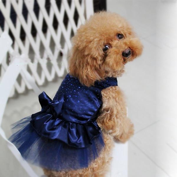 Hunde Puppy Bryllup Fest Blonde Kjole Tøj Bow Tutu Prinsesse Hund - Pet produkter - Foto 4