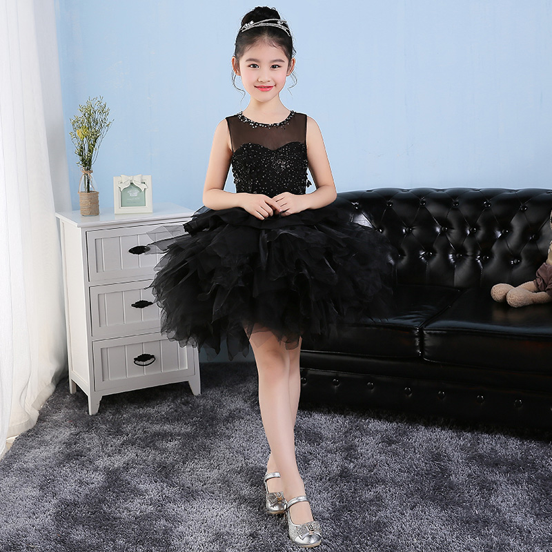 цены на New Arrival Children Girls Short Dress 2018 Elegant Beading Evening Gowns Mesh Ball Gown Dresses Princess Girl Party Dress JF494 в интернет-магазинах