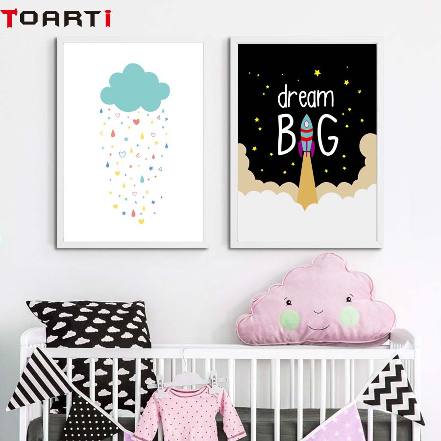 Cartoon Wall Poster Dream Big With Rocket Wall Art Prints Canvas Painting For Nursery Kids Bedroom Wall Picture Home Ornaments (1)