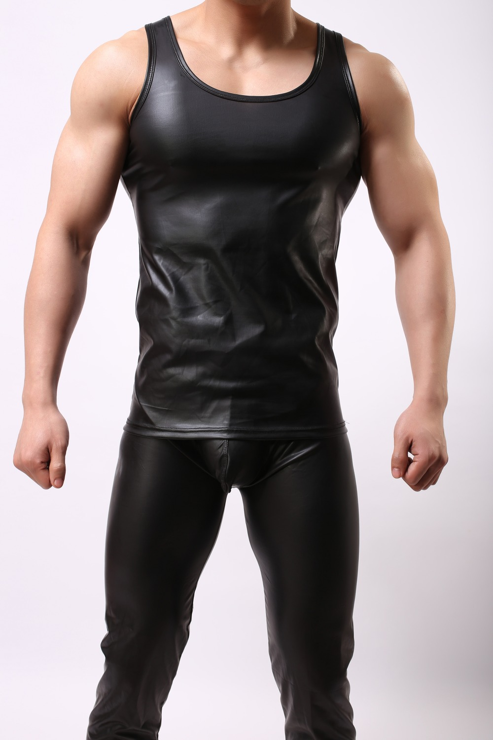 a6a3539a New PU Leather O neck Men Tank Tops Sexy Sleeveless Shirts Men Imitatiion Faux  Leather Vest For casual Wear 6z-in Tank Tops from Men's Clothing on ...