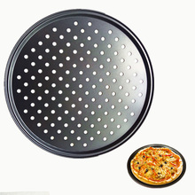12 Inch Non-Stick Carbon Steel Pizza Pan Round Pizza Tray with Holes Bakeware Pizza Baking Tool Kitchen Accessories