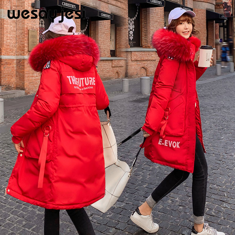 Parkas Jacket Coat Letter Hooded Big-Fur-Collar Print Long Women Double-Warm Causal