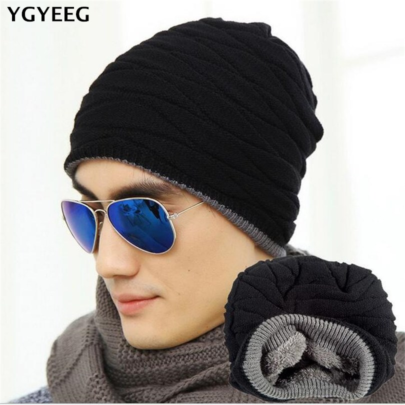 YGYEEG Winter Hat Knitted Mens Winter Cap 2018 Women Casual Solid Thick Warm Plus Velvet Beanie Cap Skullies Beanies 8 Colors
