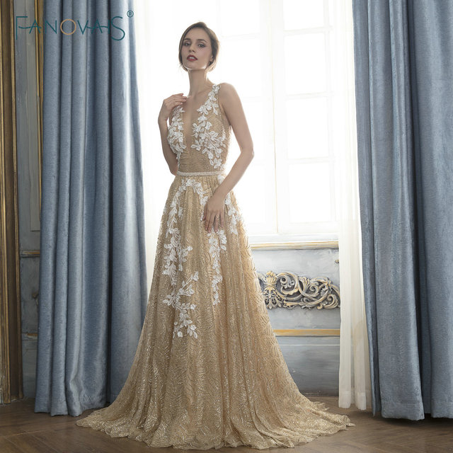 Gold Evening Dresses Long Shinning Glitter Evening Gowns Vestido De Festa Longo 2019 Robe De Soiree Lace Prom Dress Formal Dress