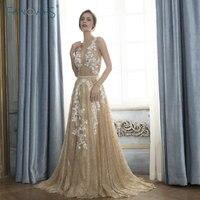 Gold Evening Dresses Shinning Glitter Evening Gowns Vestido De Festa Longo 2018 Robe De Soiree Lace Prom Dress Formal Dress