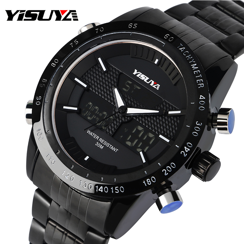YISUYA Dual Time Zone Men Quartz Wrist Watch Noctilucent Date Chronograph Alarm Black Stainless Steel Band skmei 1049 50m waterproof solar dual movement dual time zone men s sport watch black blue