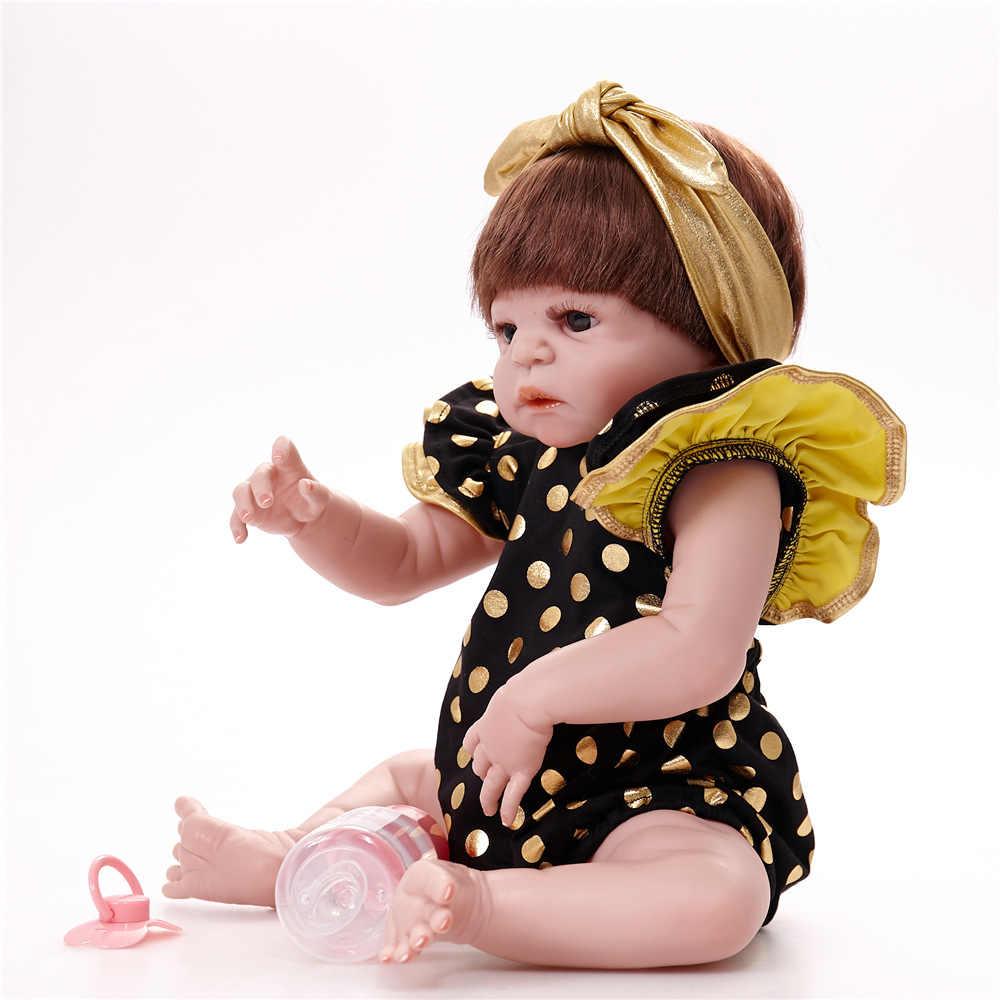 Nueva llegada 55 cm muñecas Reborn de silicona suave muñeca Reborn 22 pulgadas de vinilo completo Boneca bebé Reborn Boy muñeca