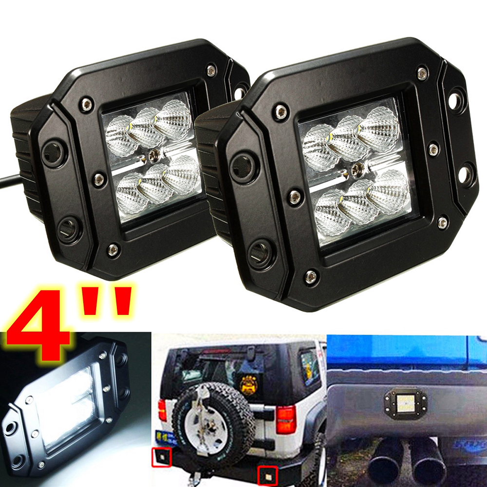 2pcs 4 Led Pods Flush Mount 18w Led Work Light Led Driving Light Flood Off-road Offroad Truck CAR Auto SUV 4WD 4X4 Fog Lamp 12V цена