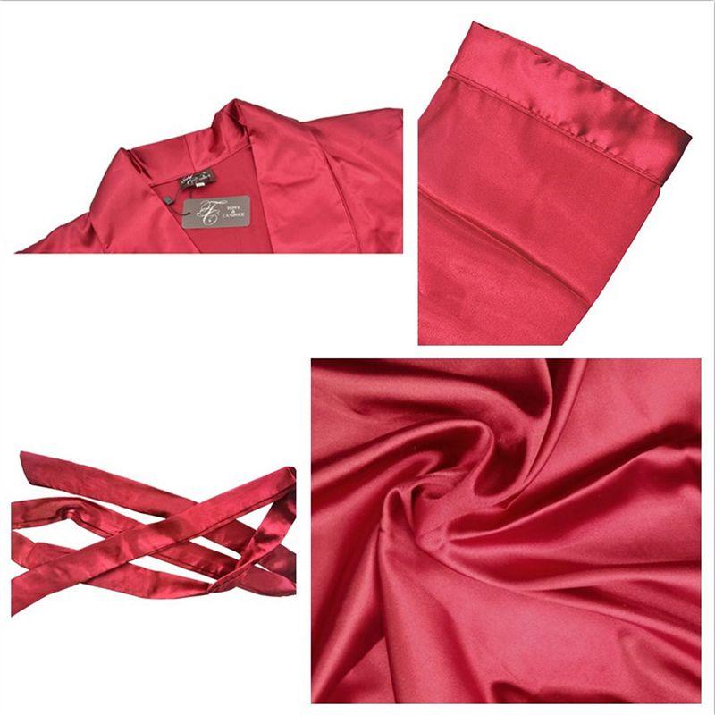 1777a75418ea7b Tony & Candice Cetim De Seda Roupão de Banho dos homens Robe Longo Sólidos  Homens Pijamas de Seda Camisola de Seda Sleepwear kimono homme Vestir ...