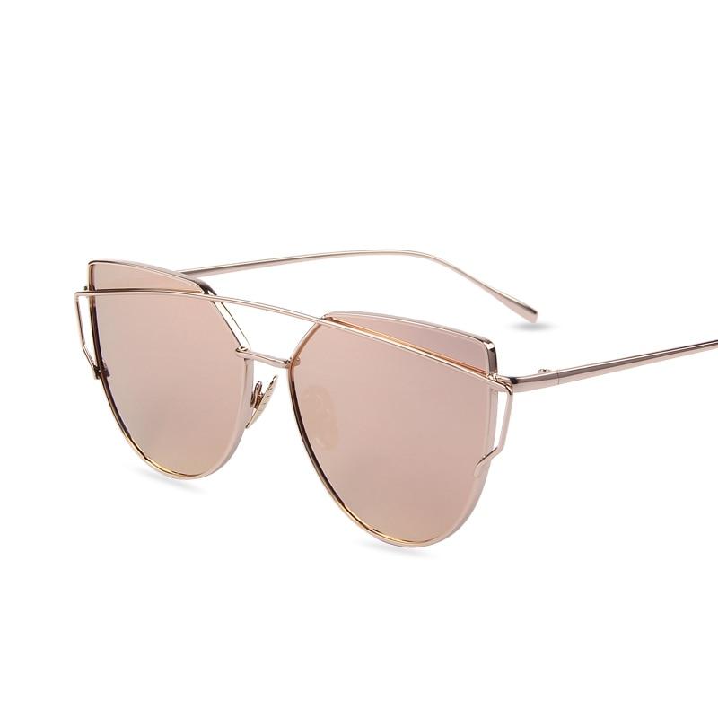 Hot Sale Mirror Flat Lense Women Cat Eye Brýle Klasické značky Designer Twin-beams Rose Gold Frame Sun Glasses for Women
