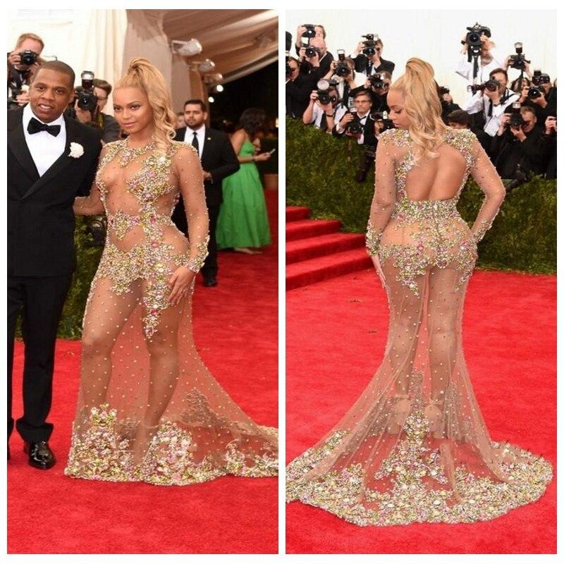 2019 Sexy Long Sleeves Mermaid Celebrity Dresses Colorful Crystal Beaded Prom Dress Red Carpet Dresses Beyonce Jay Met Gala