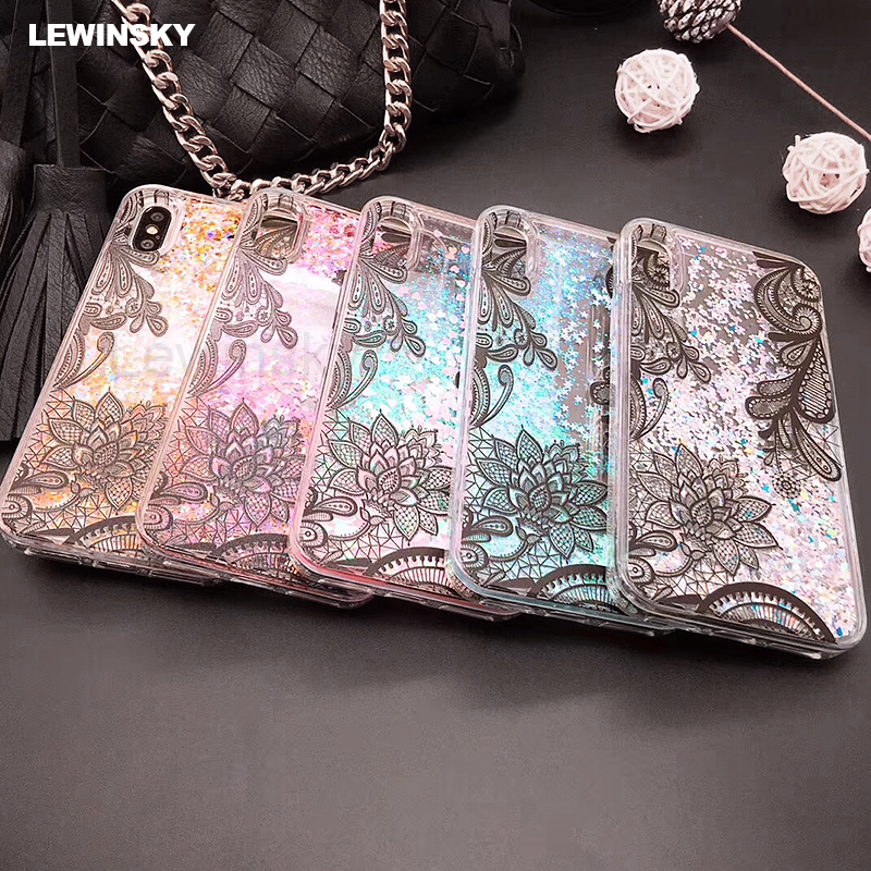 Lace Flower Quicksand Dynamic Liquid Gitter Case For iPhone 6 7 6s 8 X Soft Edge Back PC Phone Case For iPhone 7 6 8 Plus Cover