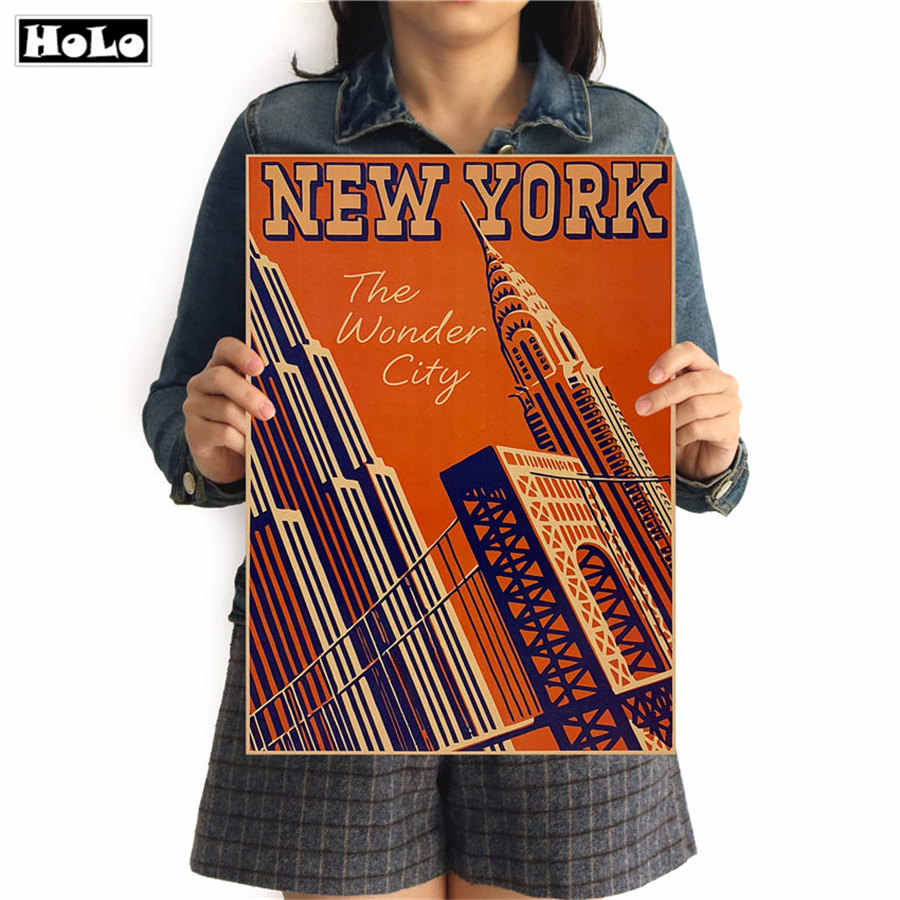 City Travel New York Vintage poster art kraft paper Cafe bar poster Retro sketch art Poster decor painting 42x30cm GGB085