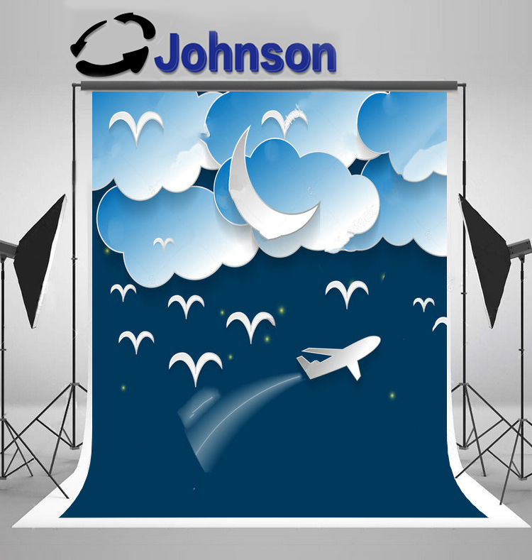 wall background Vinyl cloth High quality Computer print Night Sky Airplane White Clouds Crescent Moon Birds photo backdrop