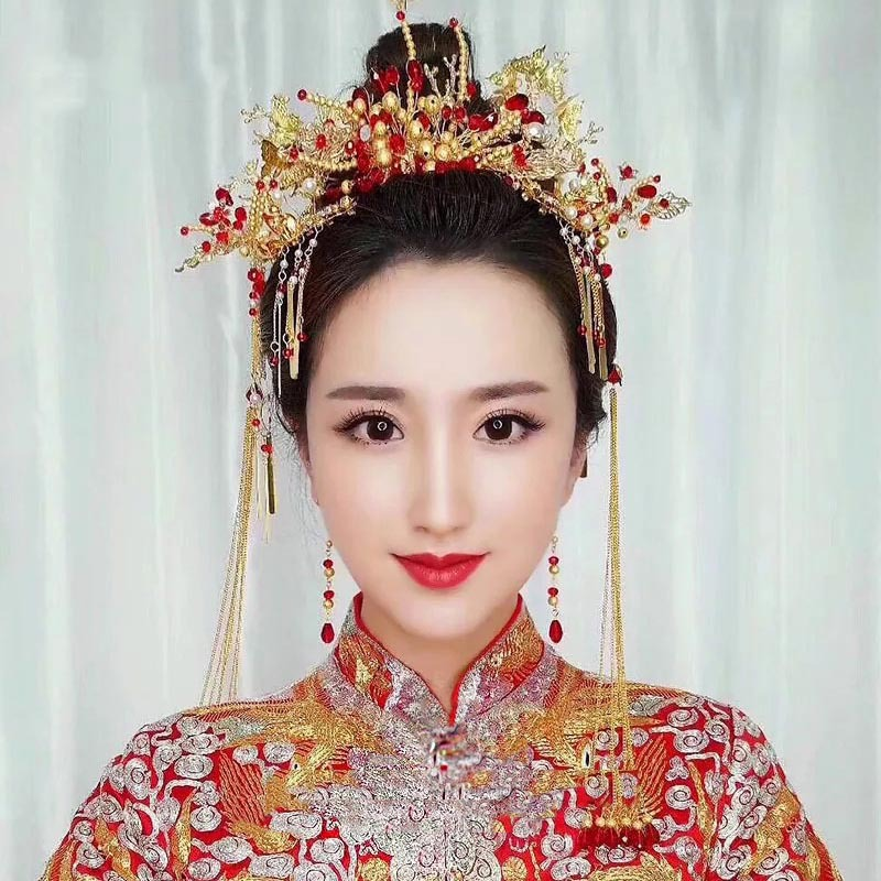 Chinese Bride's Wedding Headwear Accessories Vintage Dress Ancient Costume Headdress Red Beading Tassel Hairpins Hair Combs Set