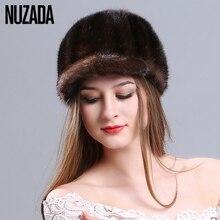 Бренд nuzada 100% реального норки Мех шляпа Утепленная одежда холодной эффект вязать трикотажные шапки Skullies шапочки Для женщин для девушек Высокое качество