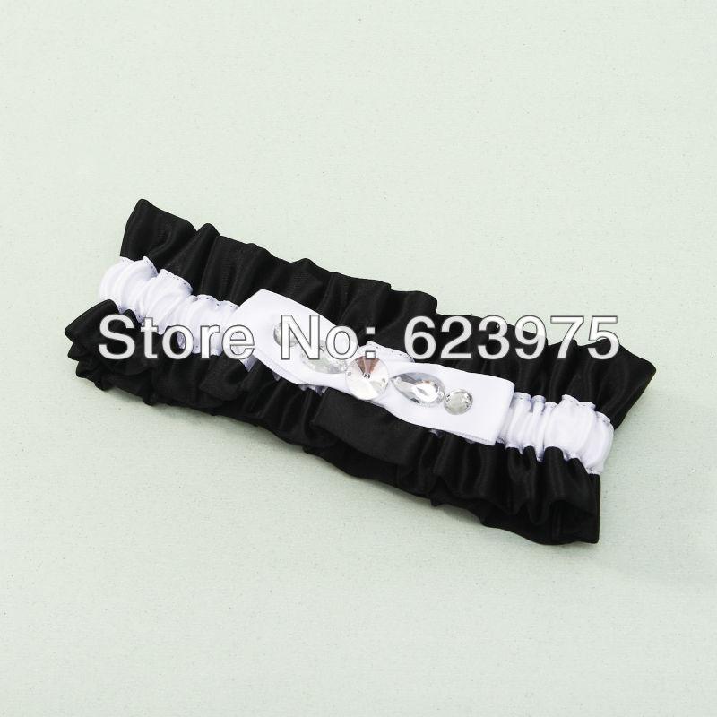 Black And White Wedding Garter In Glittering Rhinestone Embellishment Set Of 4
