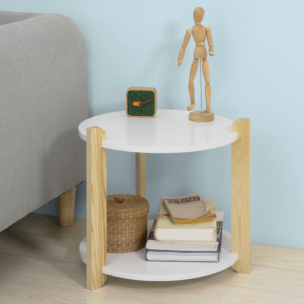 SoBuy FBT63-WN 2 Tiers Round Wooden Side Table End Table Tea Coffee Table