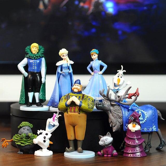 10 Pcs 2 Disney princesa Congelado Elsa e Anna Figuras de Ação Anime Figuras Modelo Brinquedos Bonecas para Crianças Presente de Aniversário para crianças