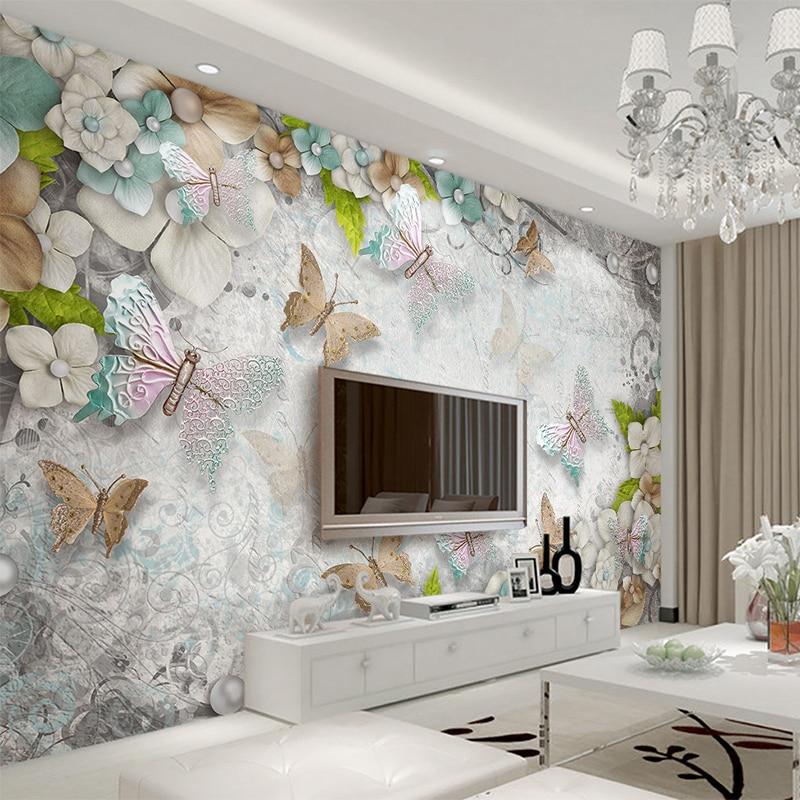 3D Tapete Mediterranen Schmetterling Blume Perle Hintergrund ...