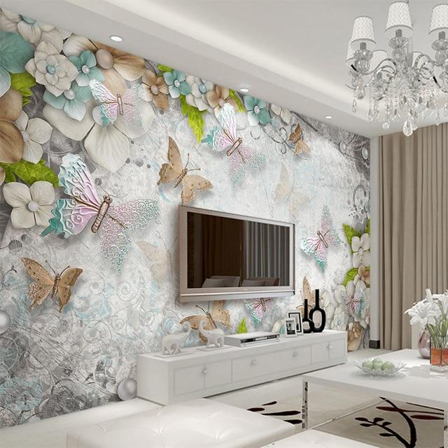 3D Wallpaper Mediterranean Butterfly Flower Pearl Backdrop Wall Mural  Living Room Hotel Bedroom Luxury Decor Wallpaper