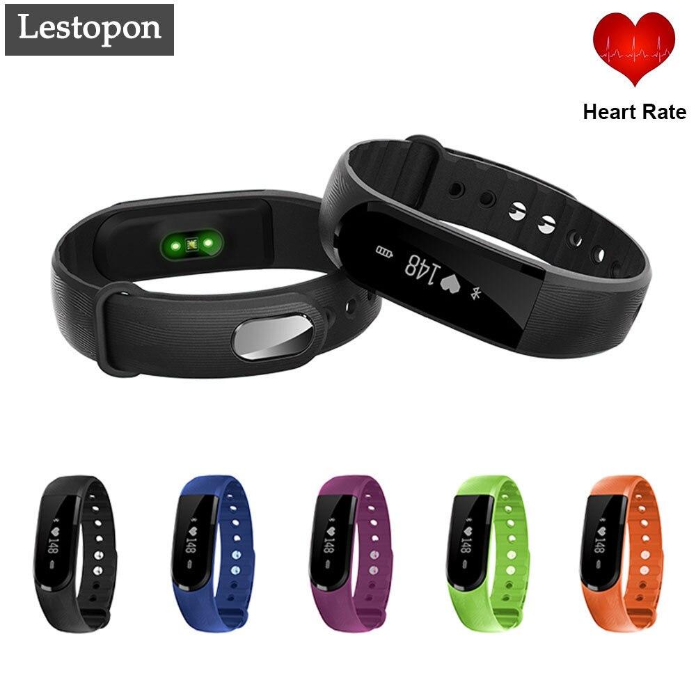 imágenes para Lestopon 2017 100% Elegante Original Pulsera Smartwatch Podómetro Del Ritmo Cardíaco Monitor de Fitness Pulsera BT 4.0 IP67 Inteligente Pulsera