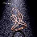 Newbark única princesa coroa rings rose banhado a ouro cor prata zircônia pavimentou grande longo anel feminino jóia do presente do partido